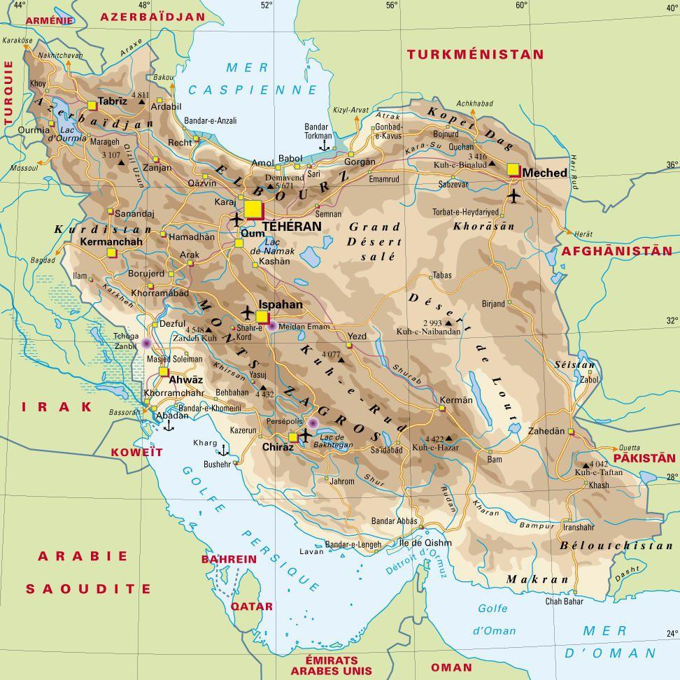 Carte de l'Iran - Iran carte des reliefs, des villes, politique, administrative...