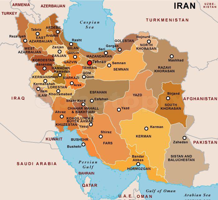 Carte des régions en Iran