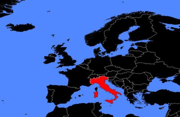 Italie sur une carte d'Europe