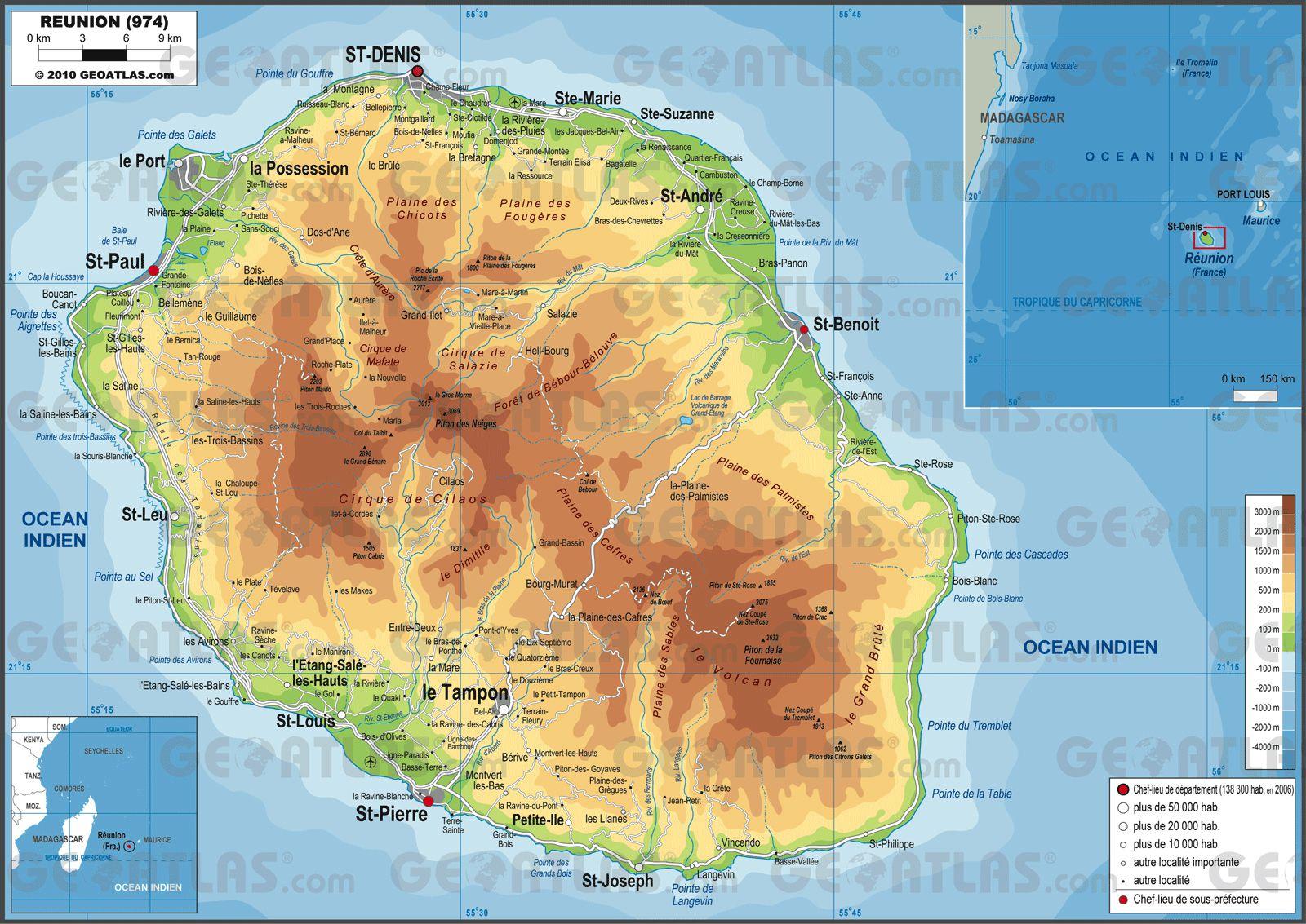 Connu Carte de La Réunion - La Réunion cartes des villes, relief  VS53