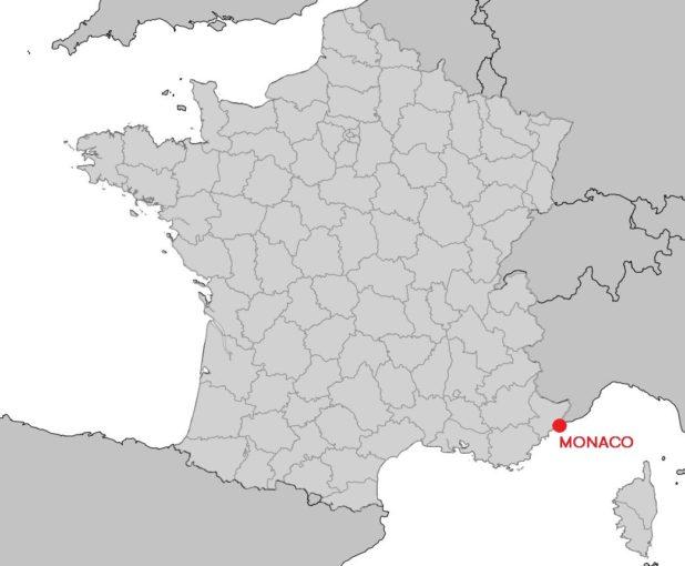 Monaco sur une carte de France