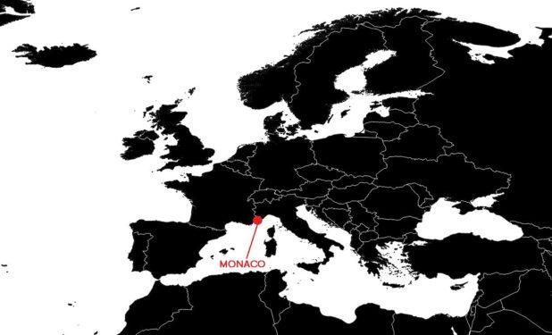 Monaco sur une carte Europe