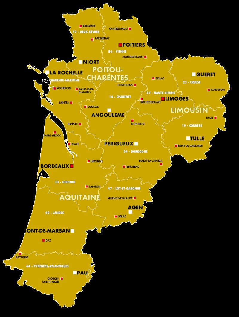 carte de nouvelle aquitaine - Image