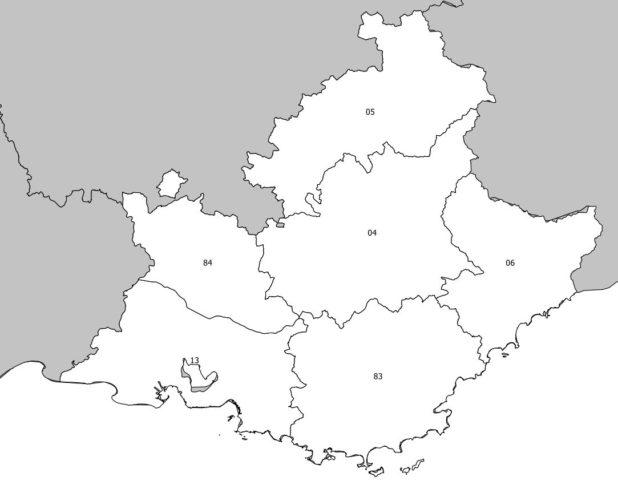 Numéro des départements de la région Provence-Alpes-Côte d'Azur