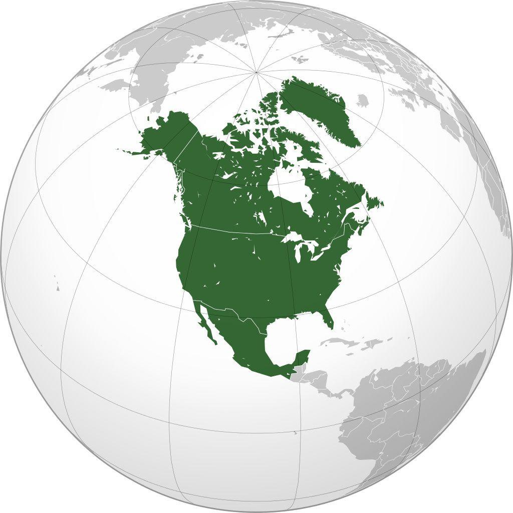 Où se trouve l'Amérique du Nord et Centrale sur une carte du monde ?