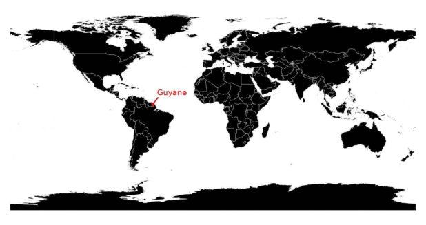 Où se trouve la Guyane sur une carte du monde