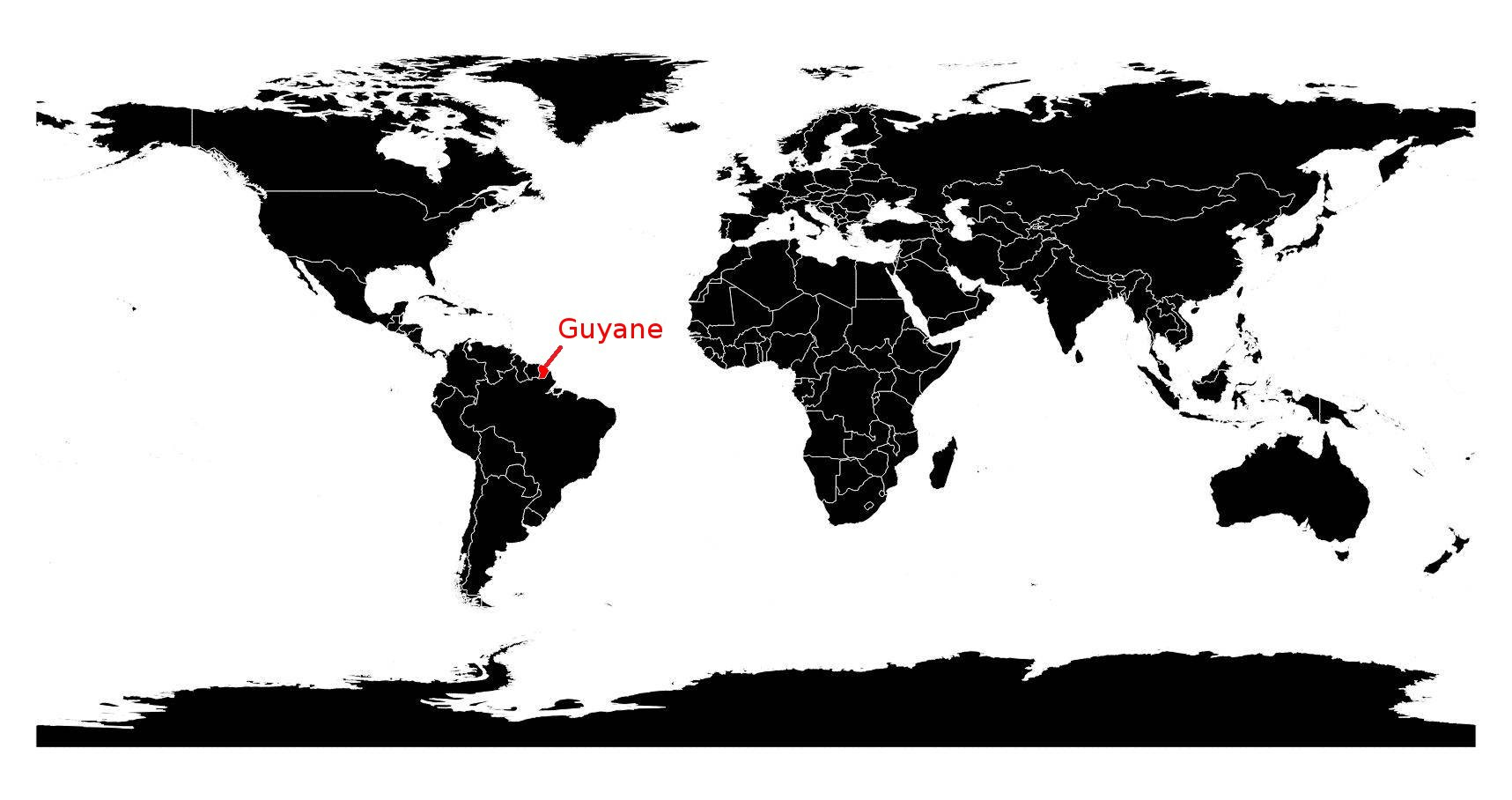 guyane française carte du monde