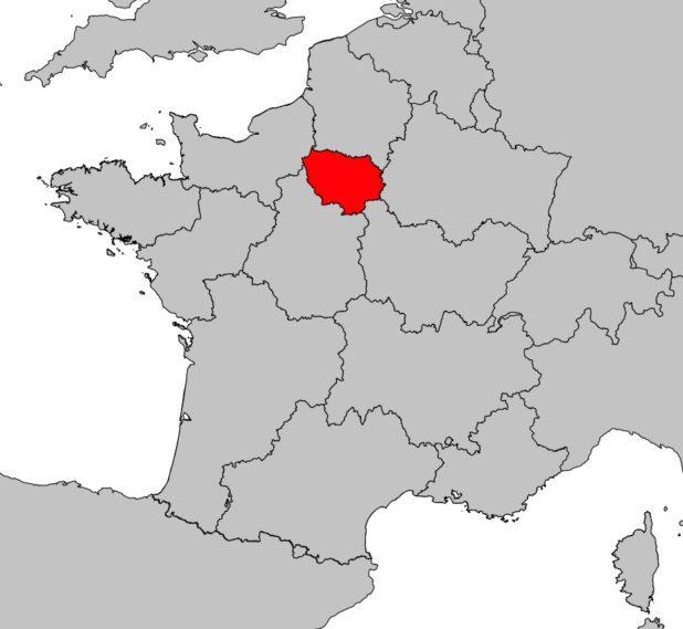 Où se trouve la région d'Île de France sur la carte de France