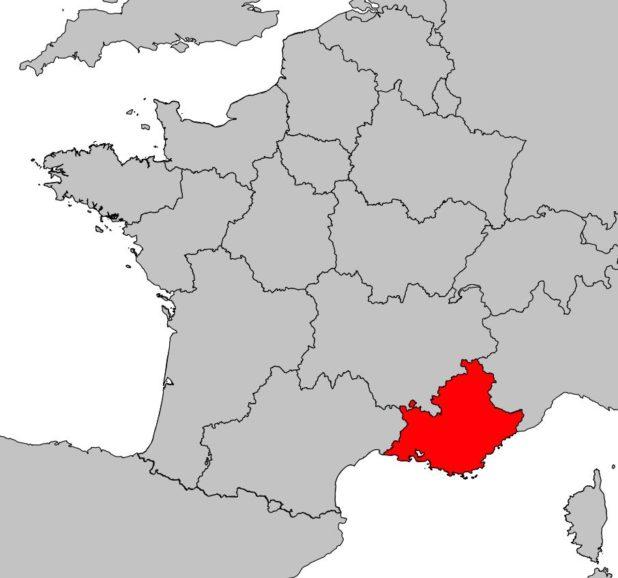 Provence-Alpes-Côte d'Azur sur la carte de la France