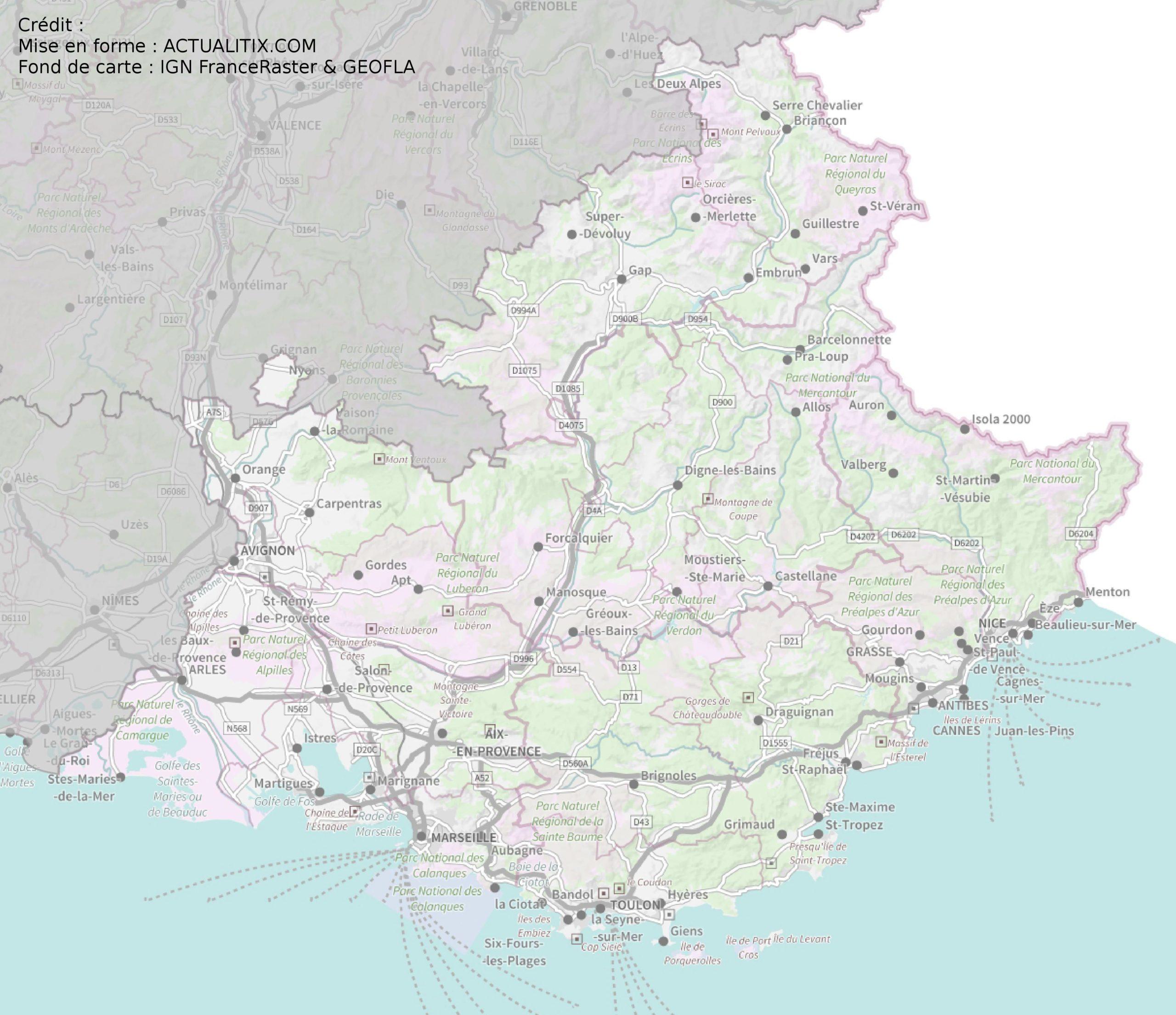 carte de la region paca Carte de Provence Alpes Côtes d'Azur (PACA)   Région de France