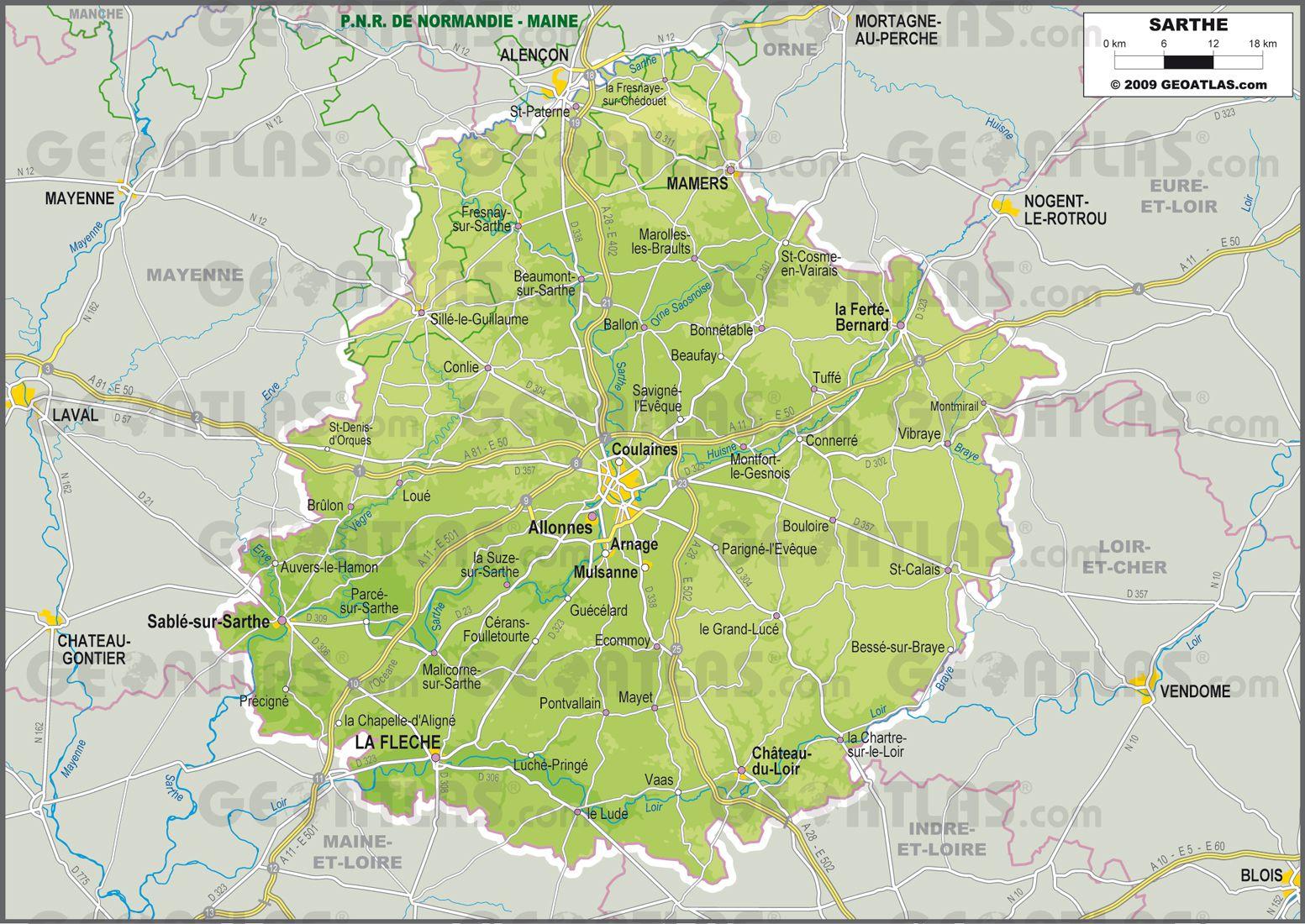 Carte de la sarthe sarthe carte des villes communes for Region loiret