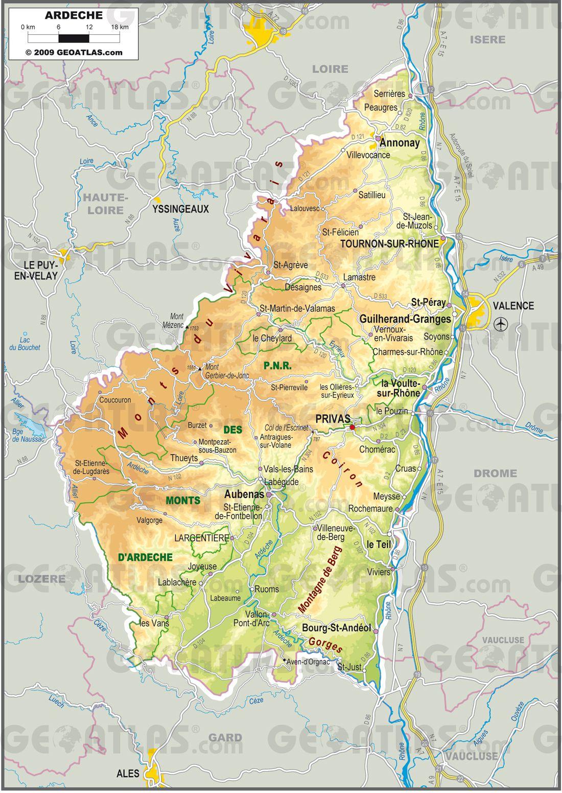 7de8bf4baf Carte de l Ardèche - Ardèche carte des villes
