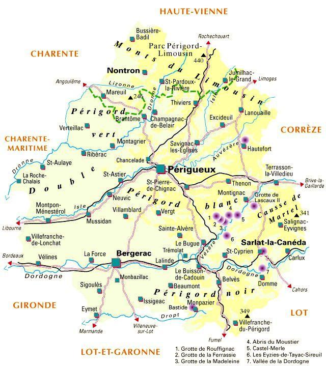 Autre carte de la Dordogne