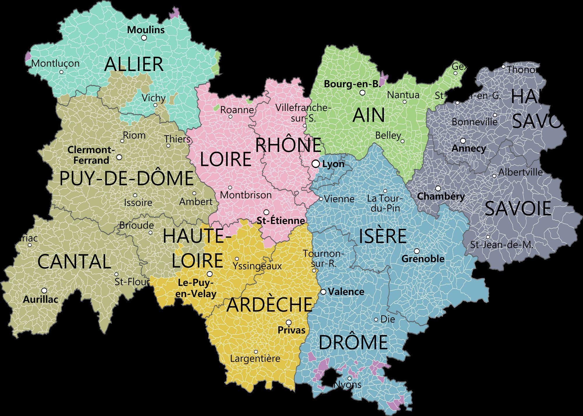 Auvergne-Rhône-Alpes carte