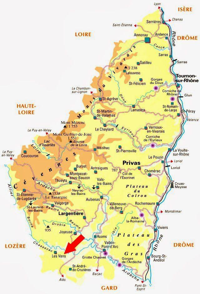 Carte administrative de l'Ardèche
