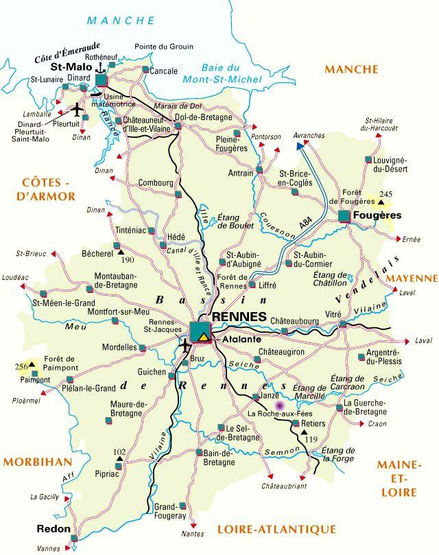 Carte administrative de l'Ille-et-Vilaine
