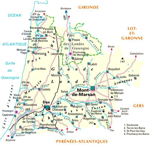 Carte administrative des Landes