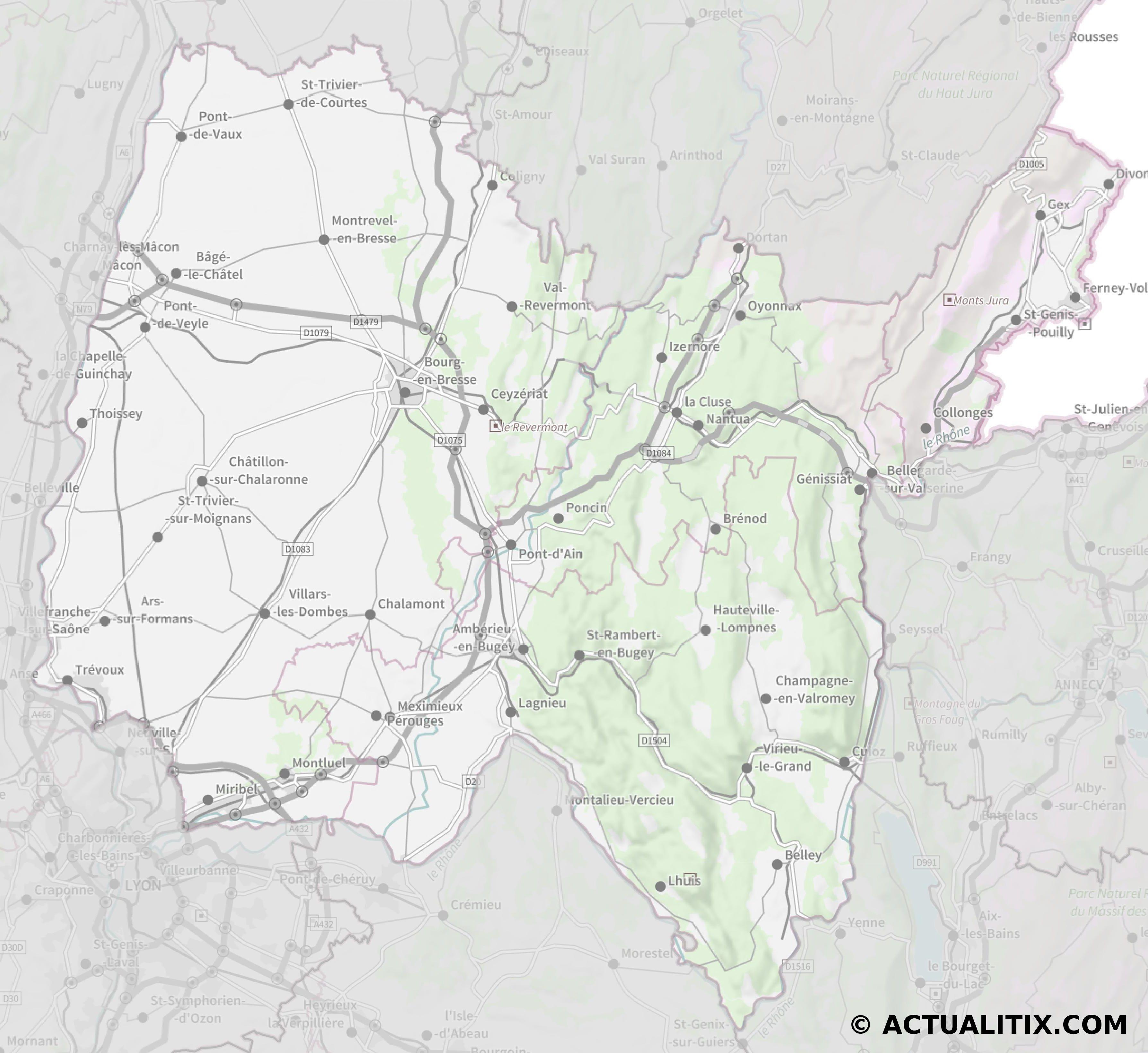 carte de l ain détaillée Carte de l'Ain   Ain carte du département 01   villes, sites
