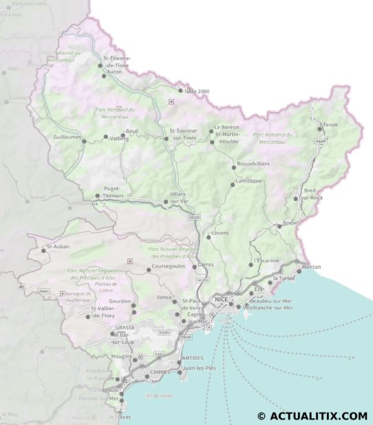 Carte des Alpes-Maritime