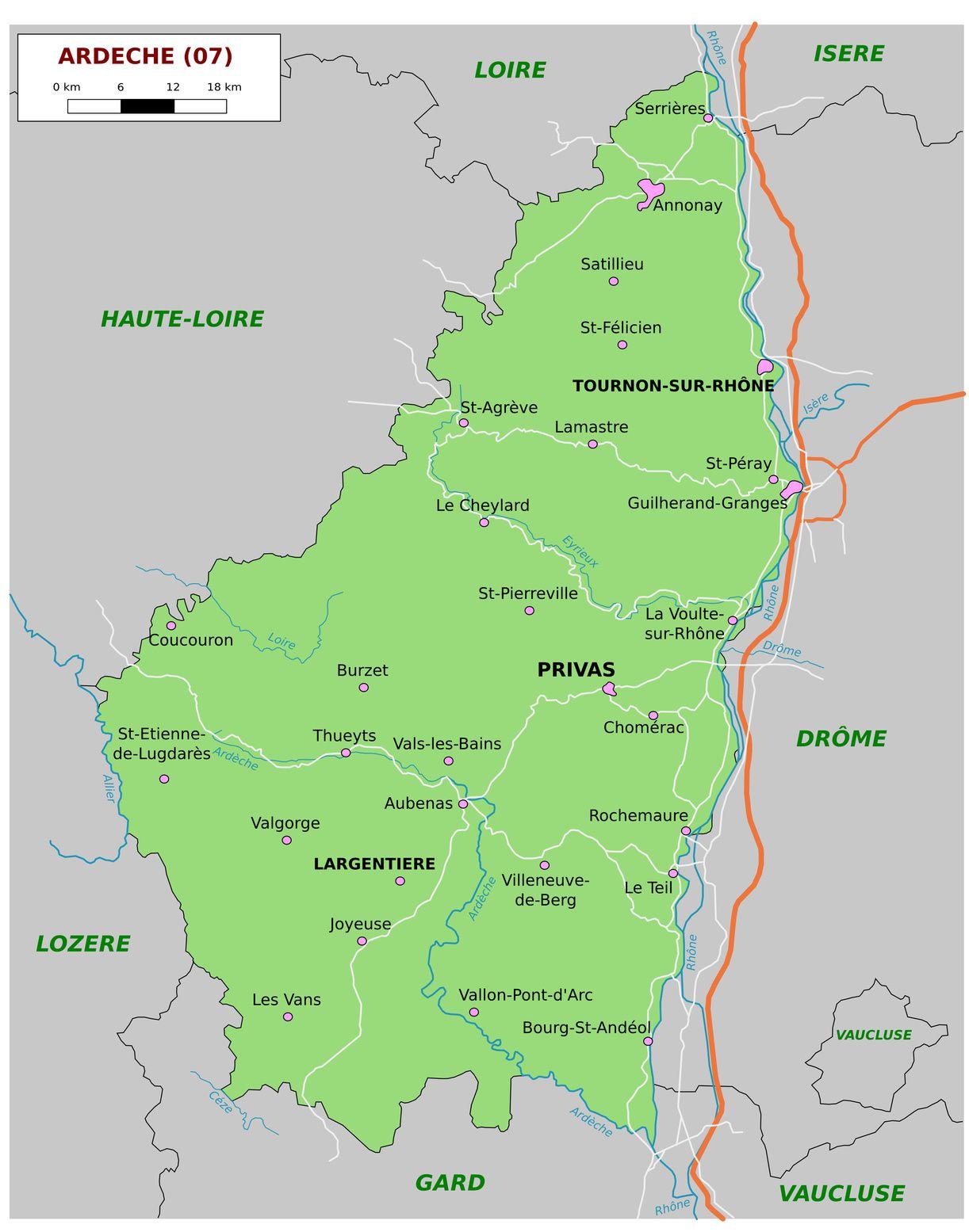 Carte de l'Ardèche - Politique