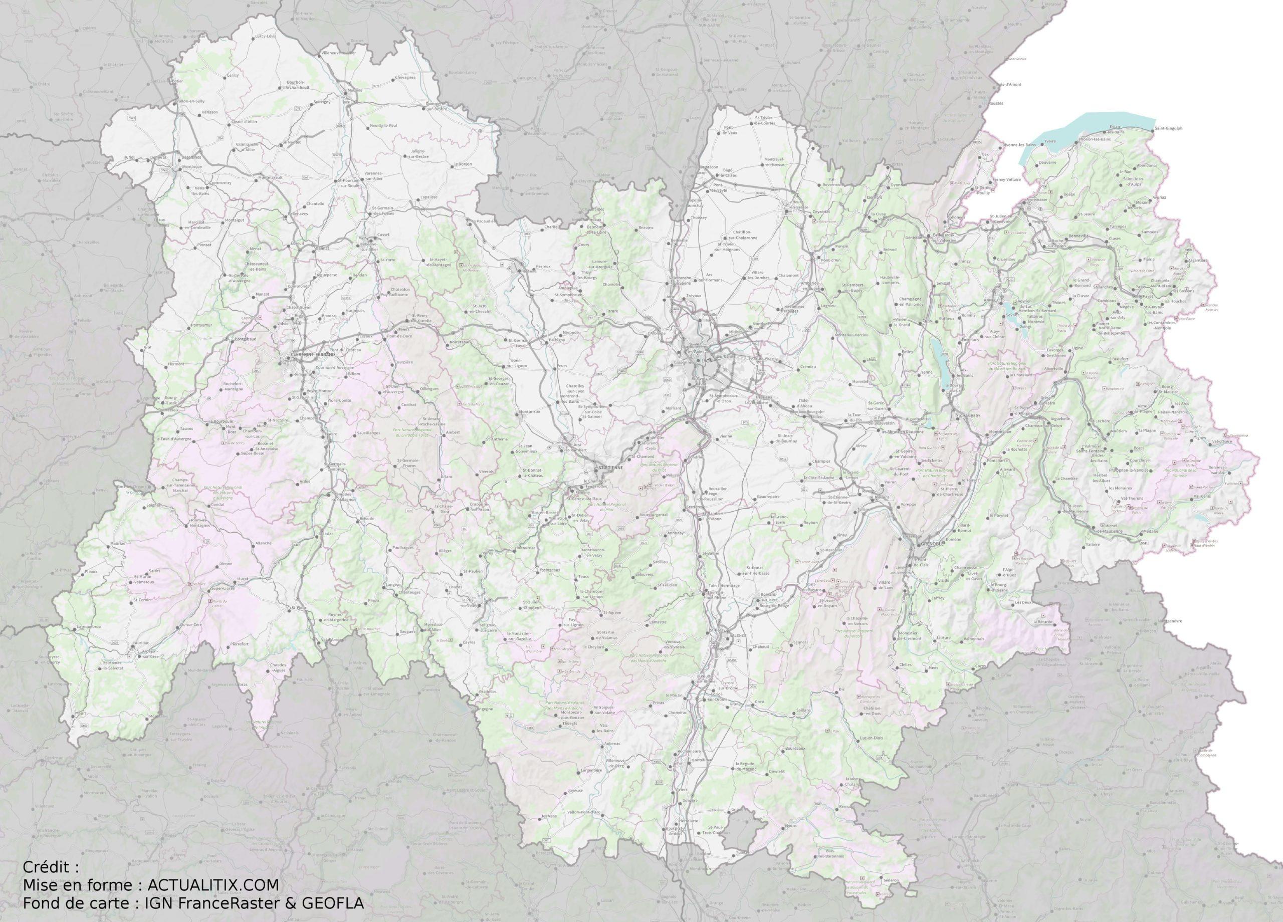 Carte De L Auvergne Rhone Alpes Auvergne Rhone Alpes Cartes De La Region