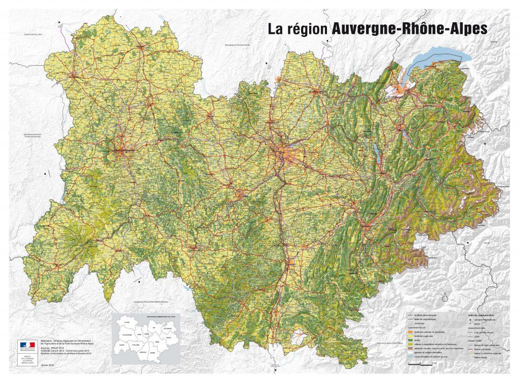 Carte de l'Auvergne-Rhône-Alpes