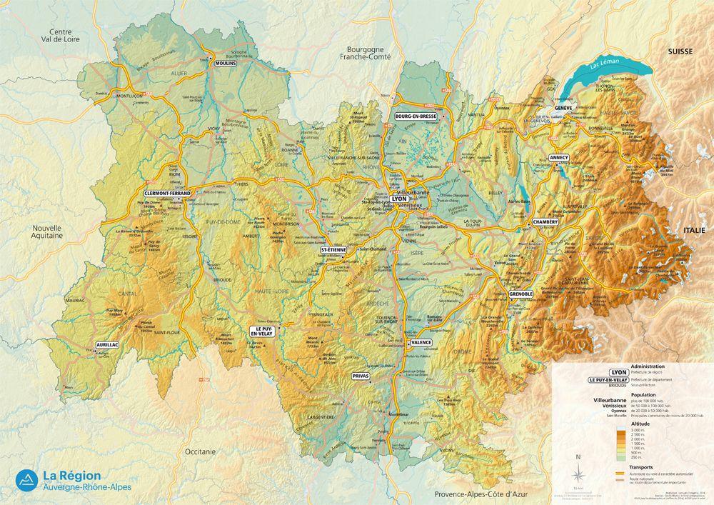 Carte de l'Auvergne-Rhône-Alpes - Politique