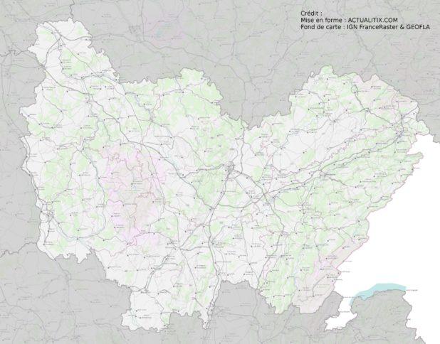 Carte de la Bourgogne-Franche-Comté