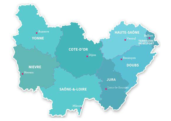 Carte Bourgogne-Franche-Comte
