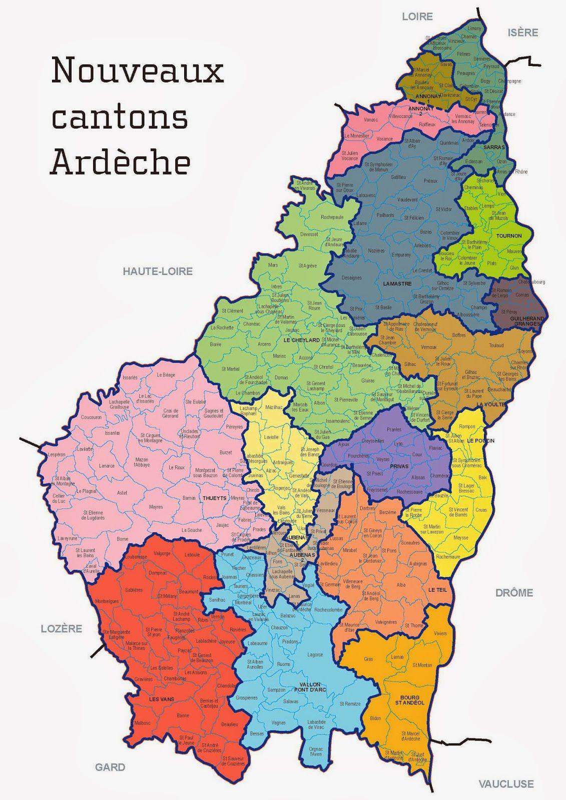 Carte des cantons de l'Ardèche