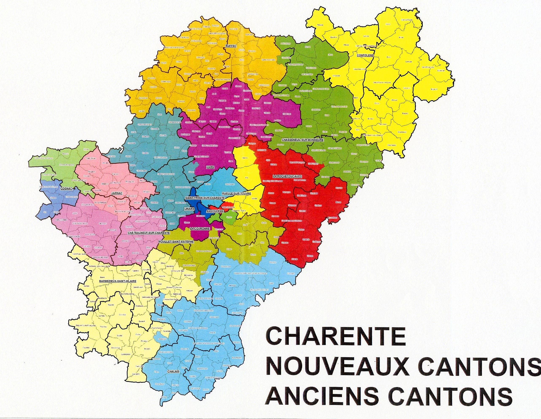 Carte des cantons de Charente