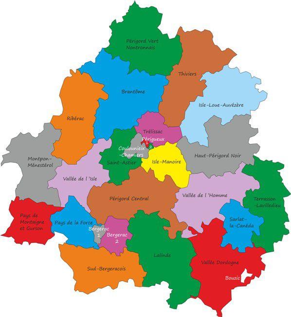Carte des cantons de la Dordogne