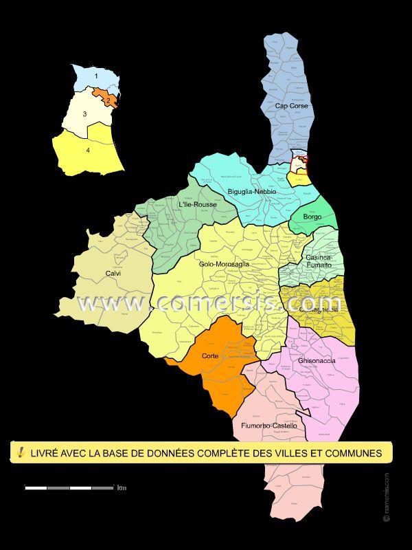 Carte des cantons de Haute-Corse