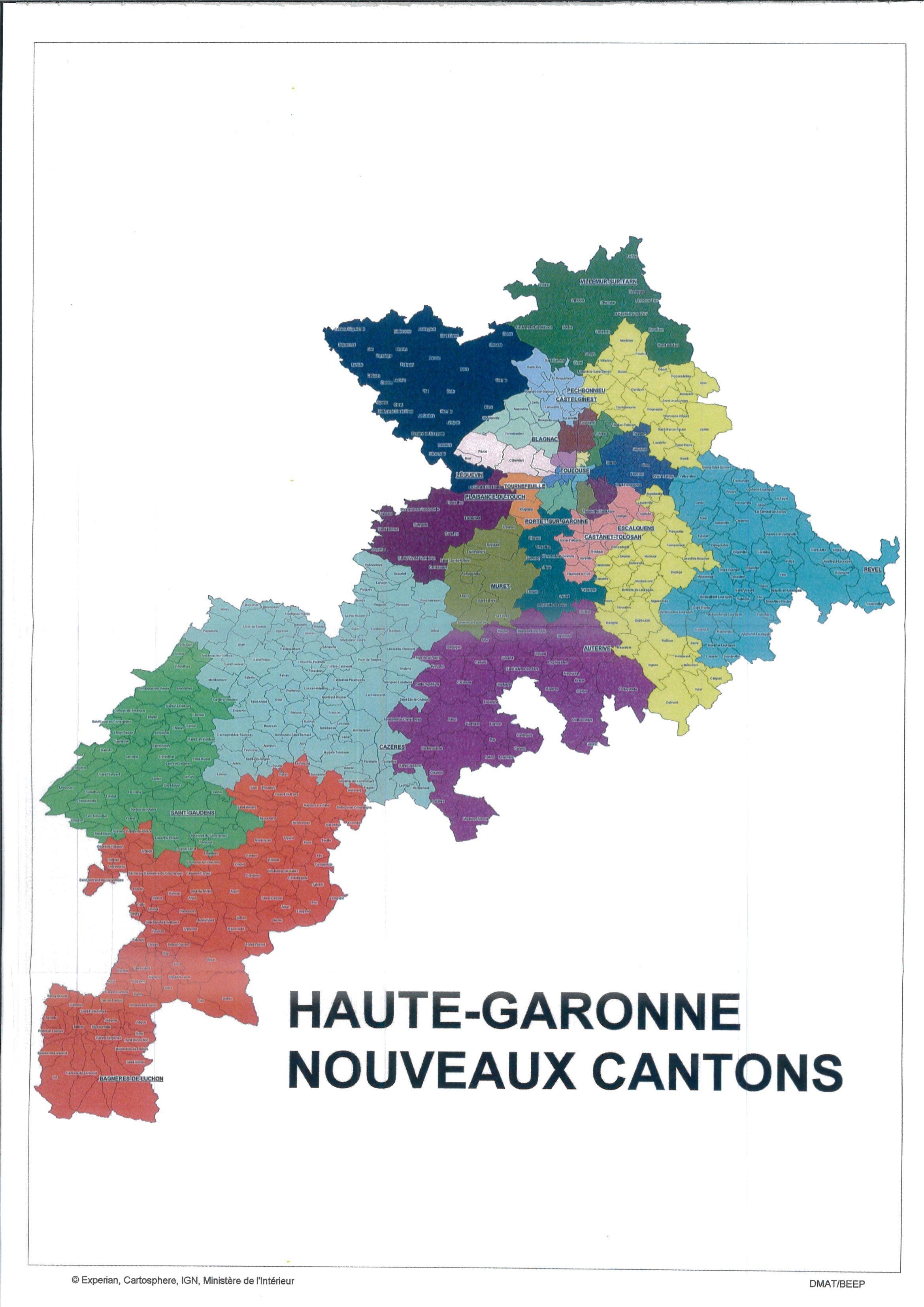 Carte des cantons de la Haute-Garonne