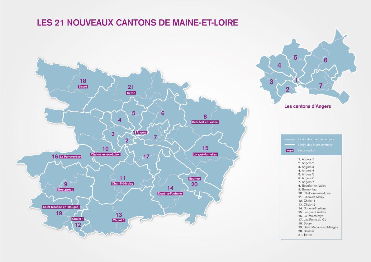 Carte des cantons du Maine-et-Loire