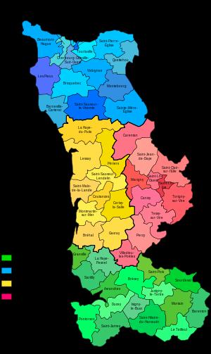 Carte des cantons de la Manche