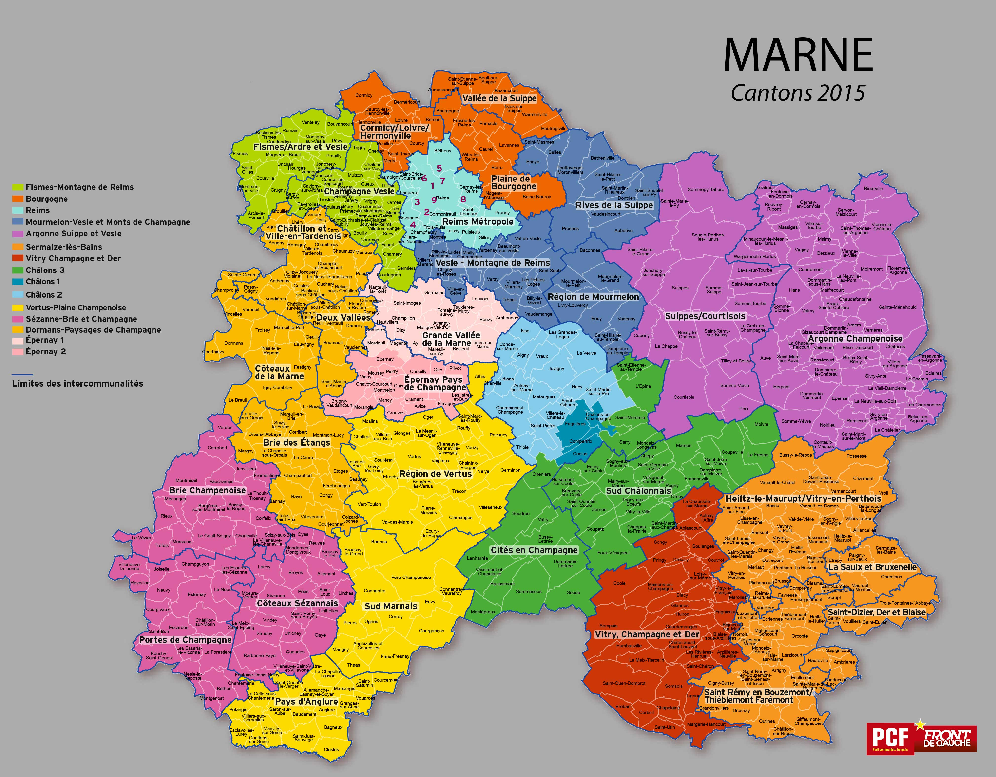 Carte des cantons de la Marne