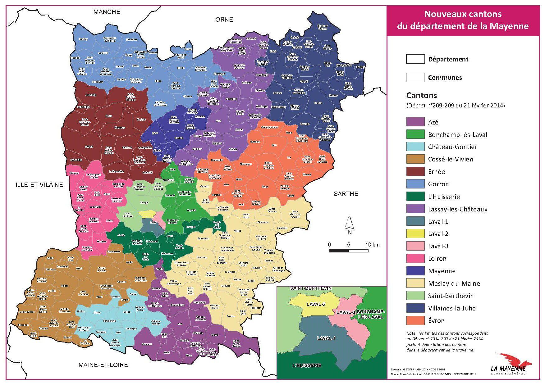 Carte des cantons de la Mayenne