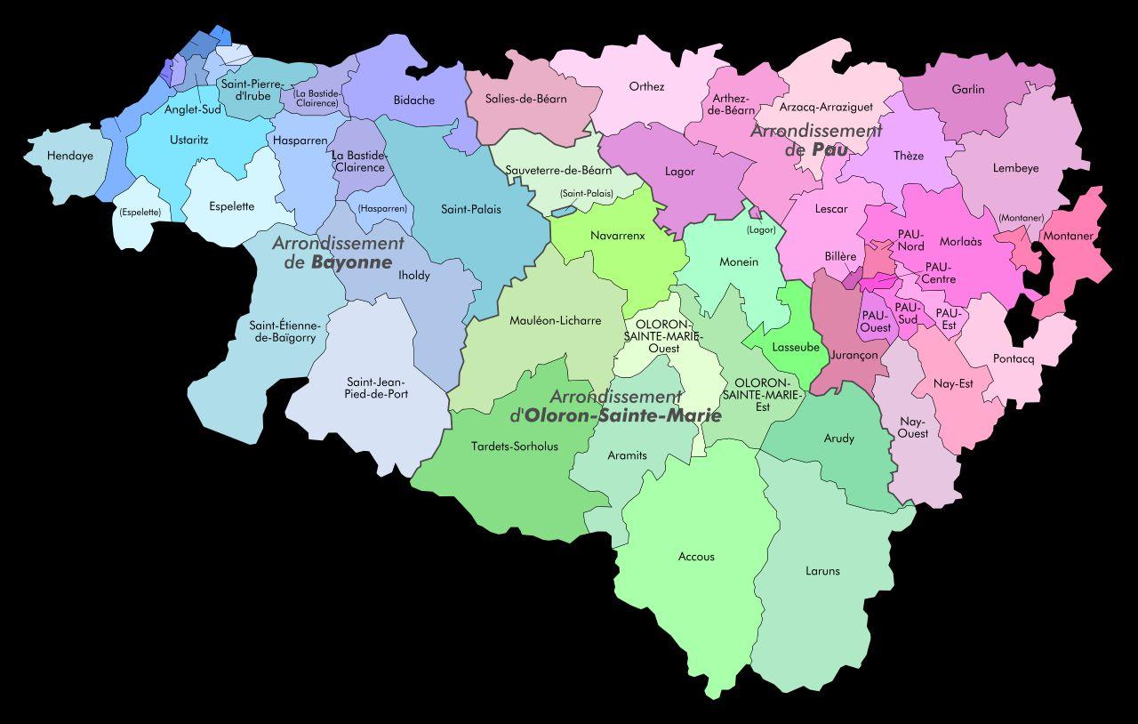 Carte des cantons des Pyrénées-Atlantiques