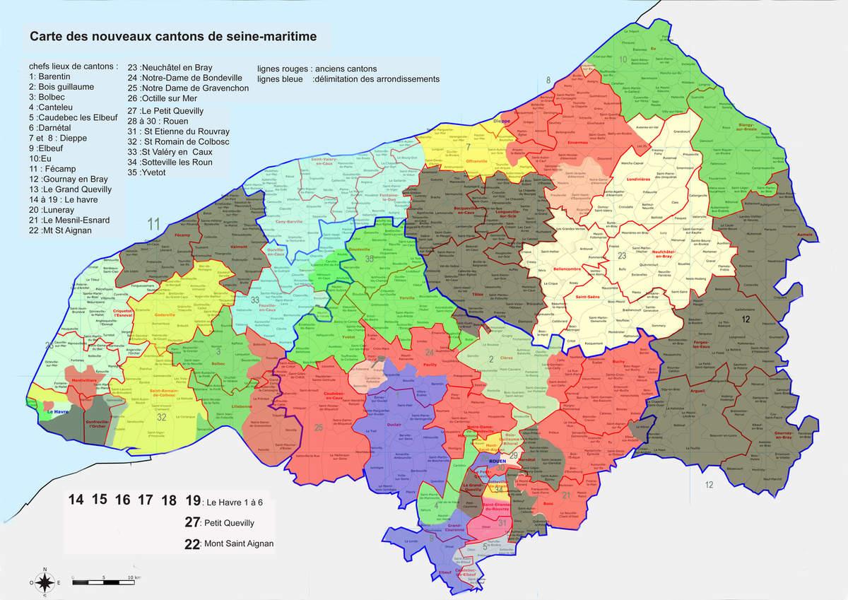 Carte des cantons de Seine-Maritime