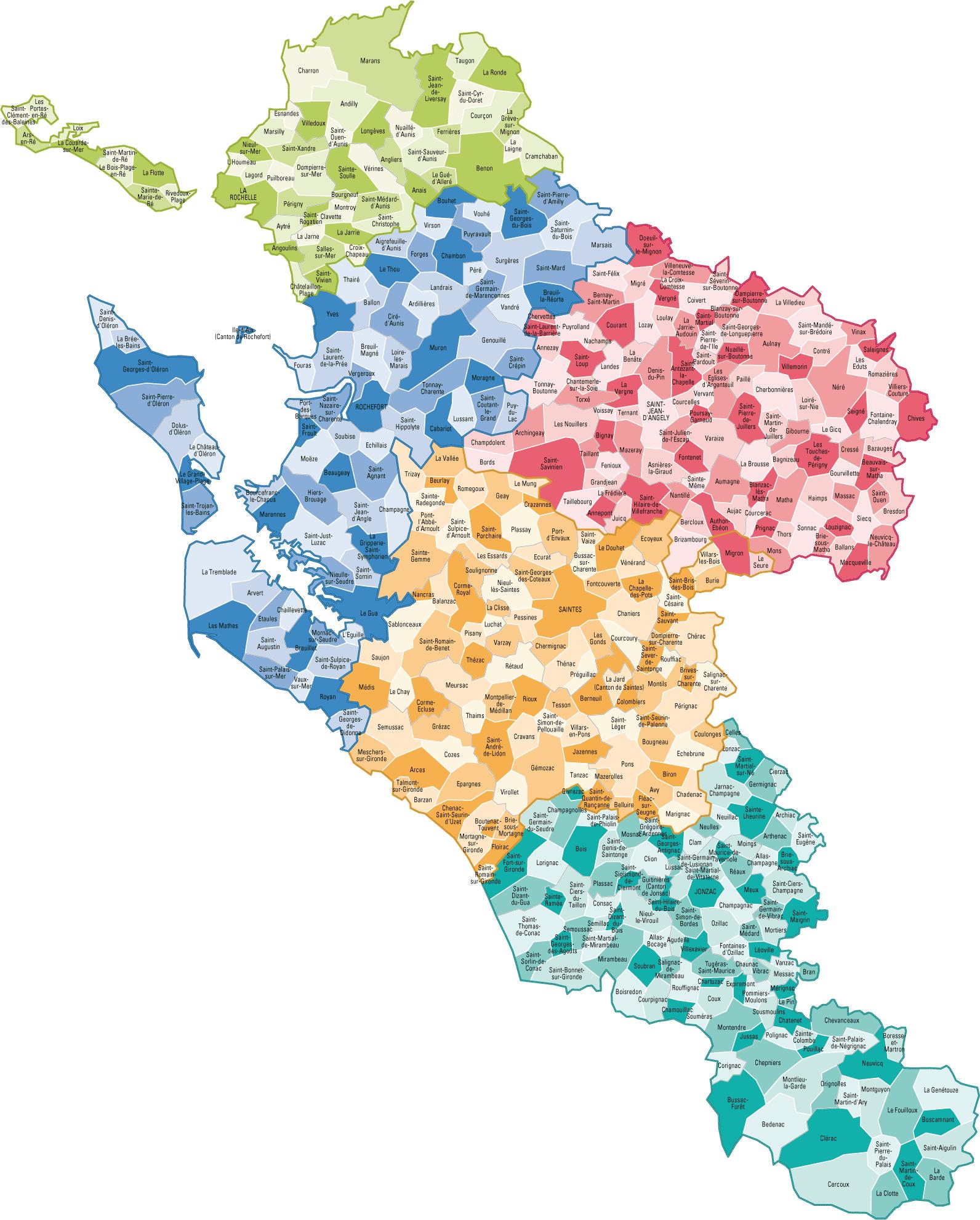 Carte des communes de Charente-Maritime