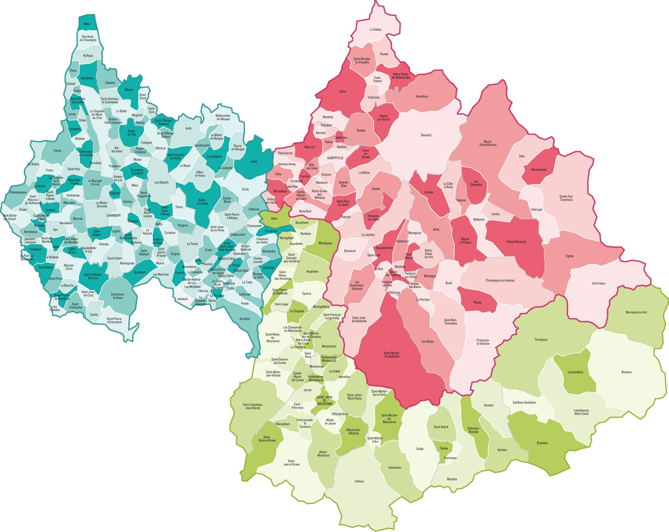 Savoie Carte Departement Ville