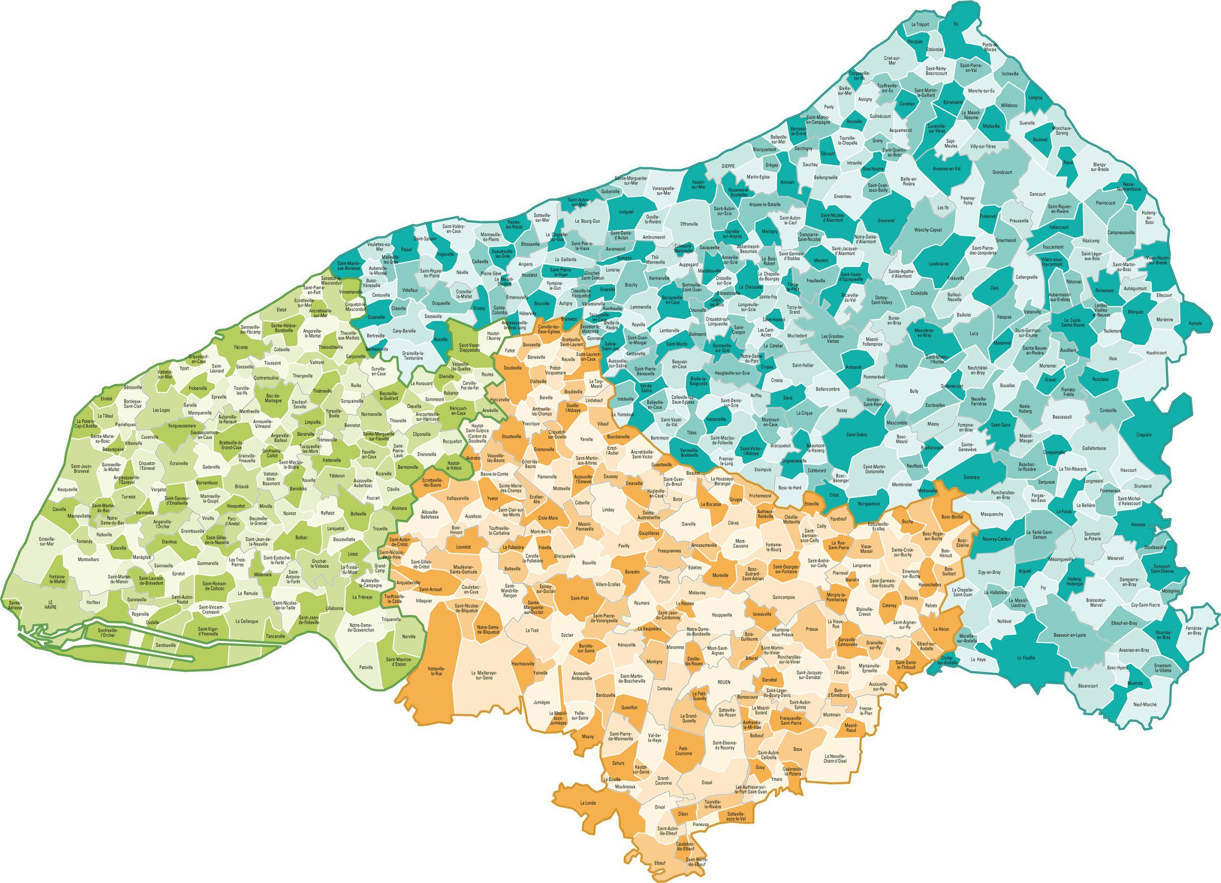 Carte des communes de Seine-Maritime