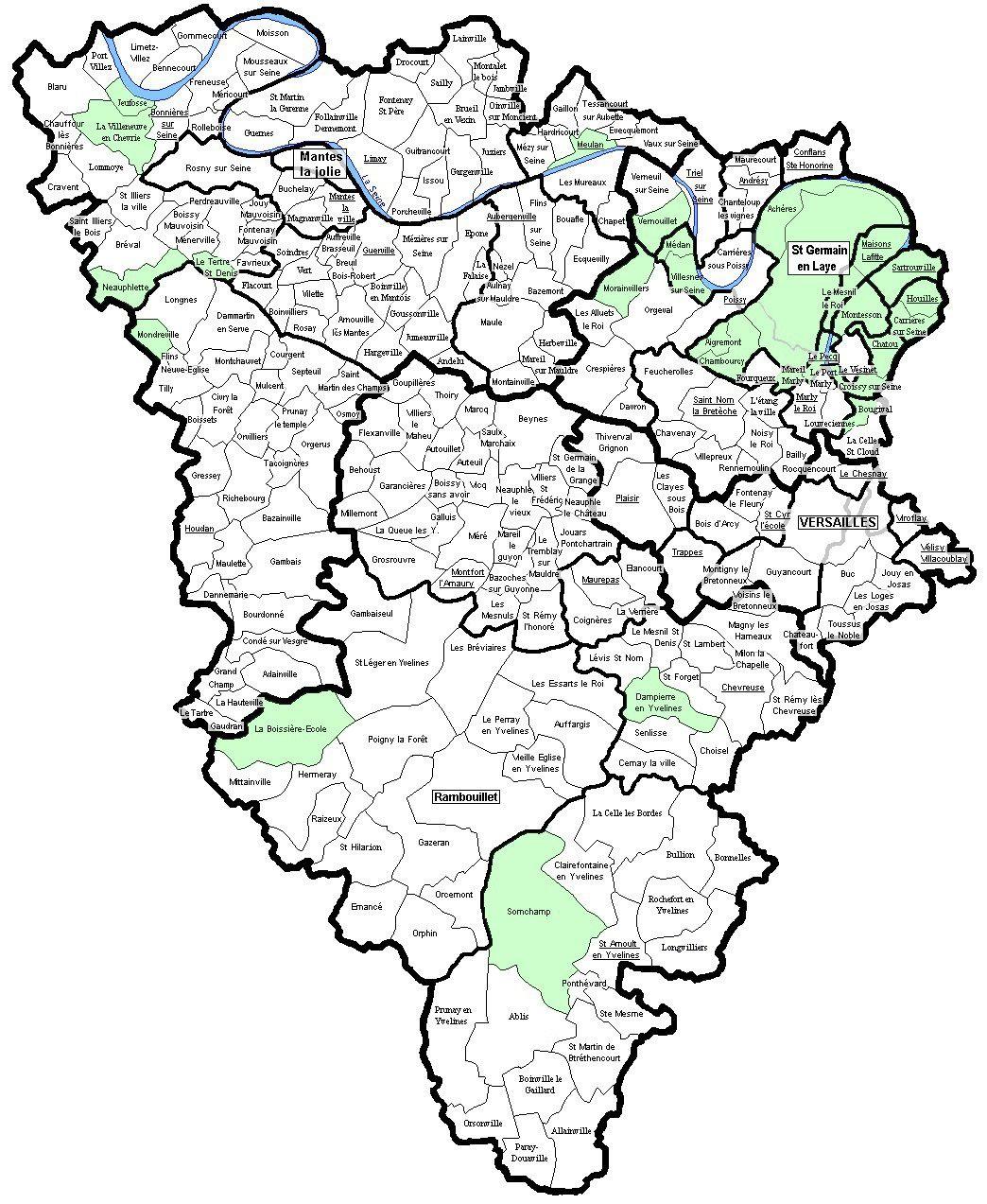 Carte des communes des Yvelines