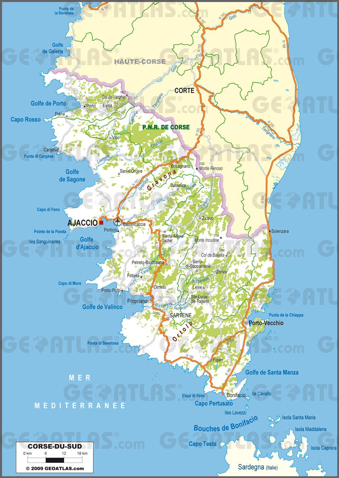 Carte Corse Departement.Carte De La Corse Du Sud Corse Du Sud Carte Des Villes