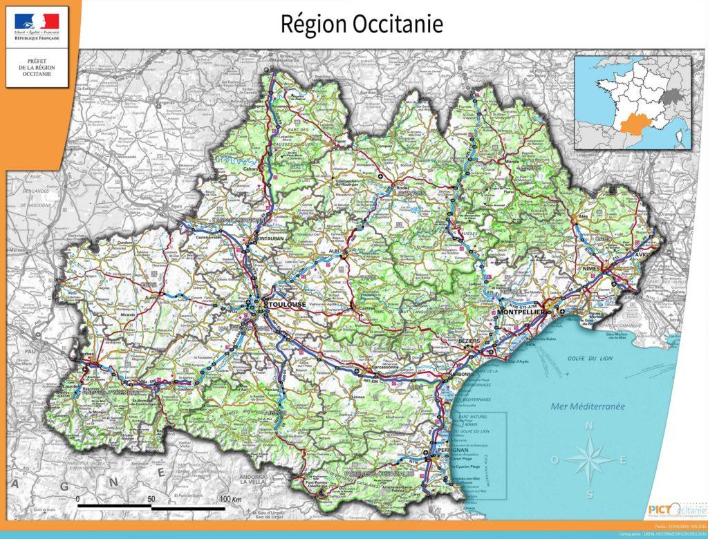 Carte de l'Occitanie