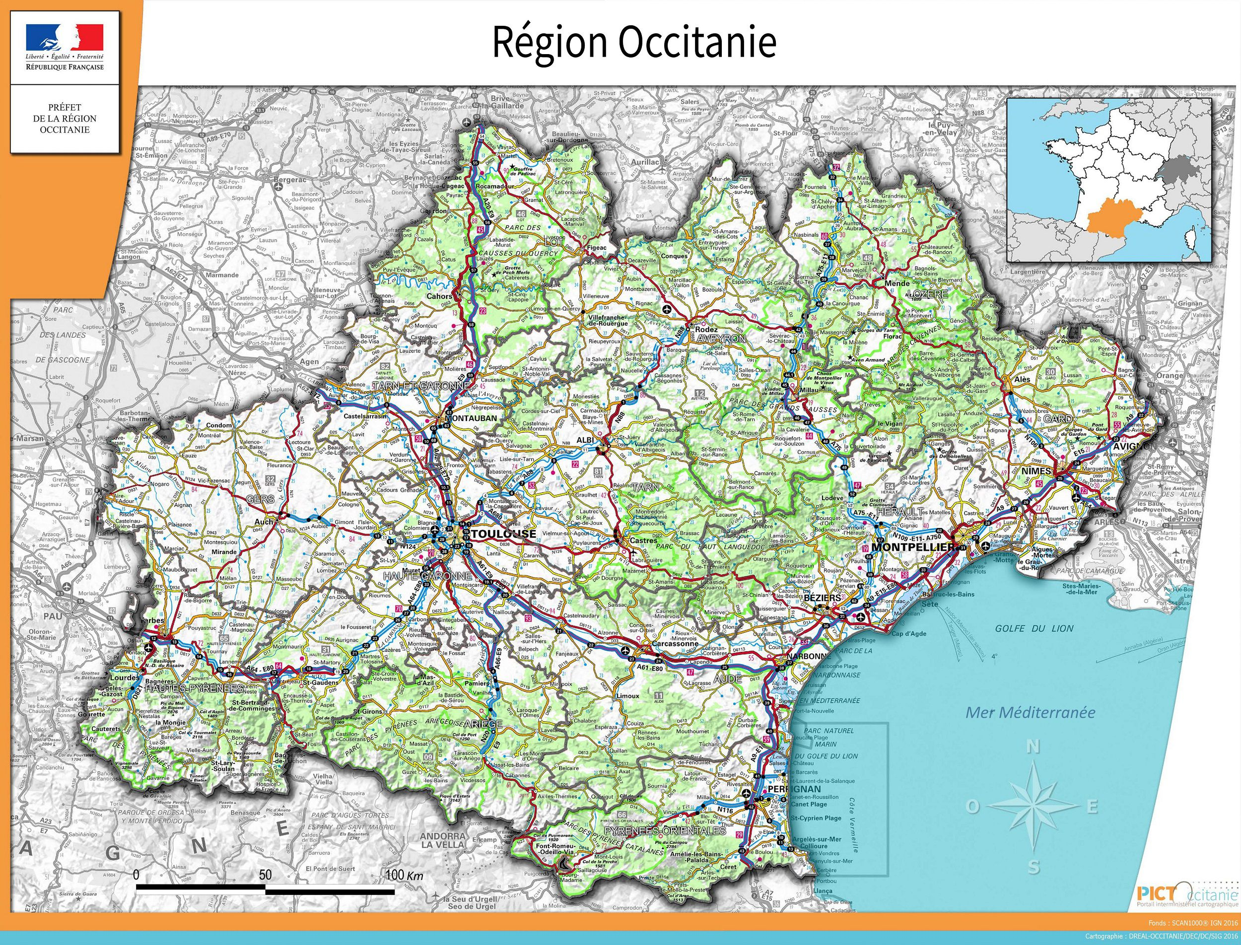Carte De Loccitanie Occitanie Carte Des Villes