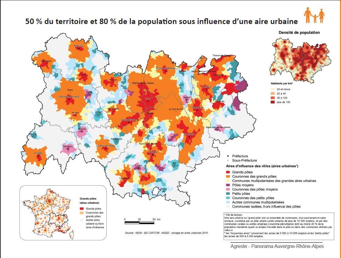 Carte densité de population Auvergne-Rhône-Alpes