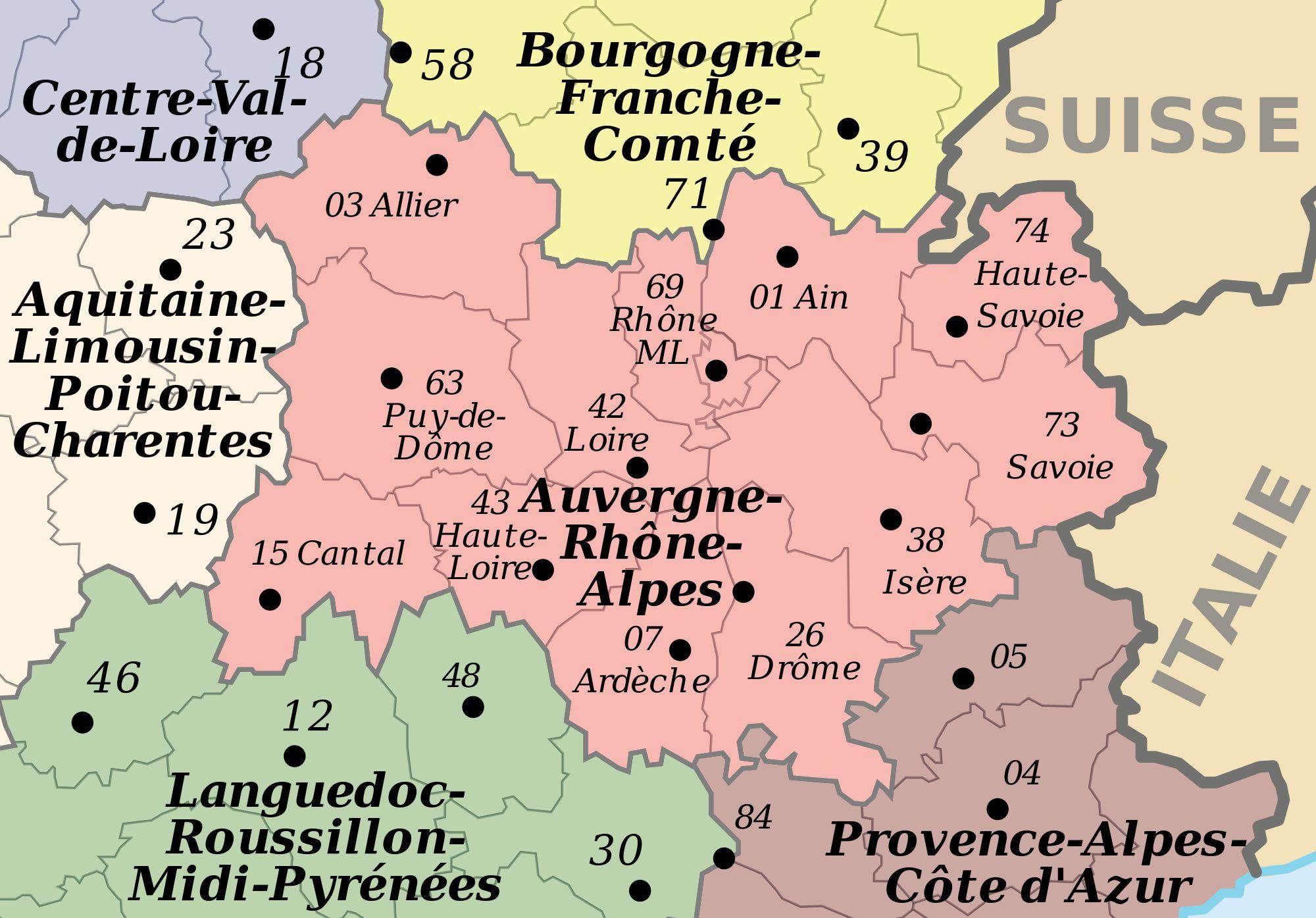 Carte des départements de l'Auvergne-Rhône-Alpes