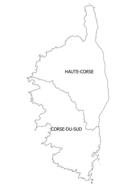 Carte des départements de la Corse